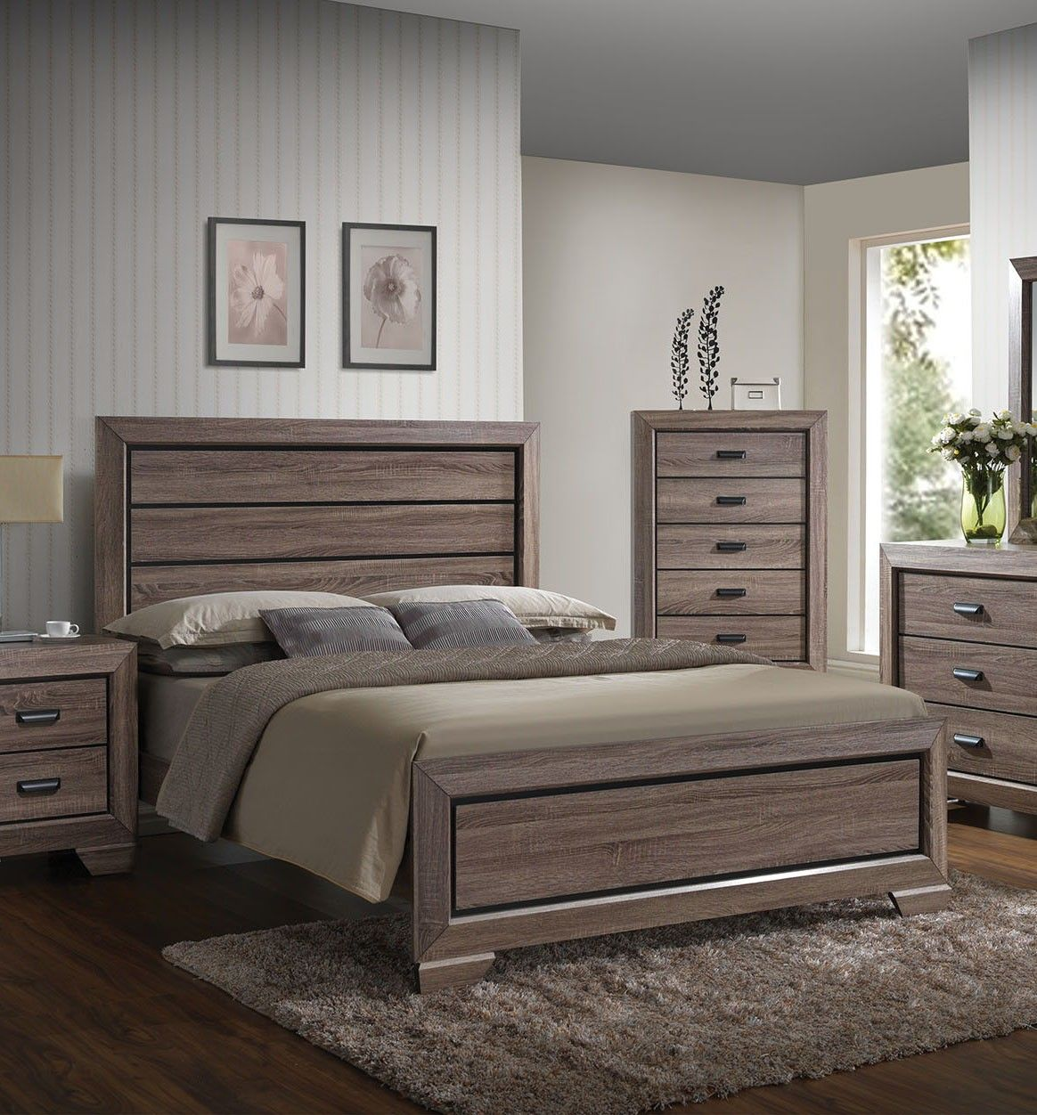 acme 26017ek lyndon weathered gray grain eastern king bed hogar