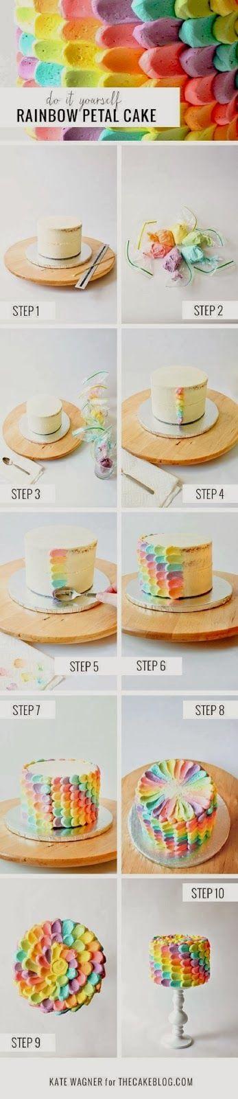 Awesome Food: DIY Rainbow Petal Cake