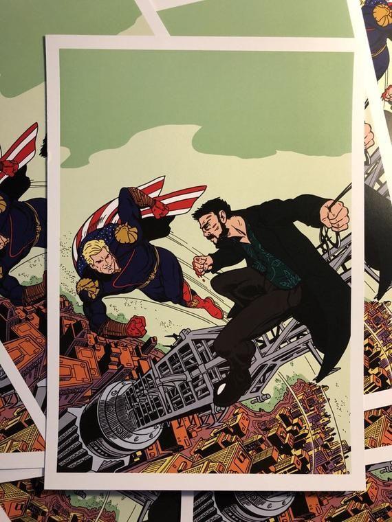 The Boys Homelander Vs The Butcher A4 Print Quadrinhos Series E Filmes Papel De Parede Wallpaper