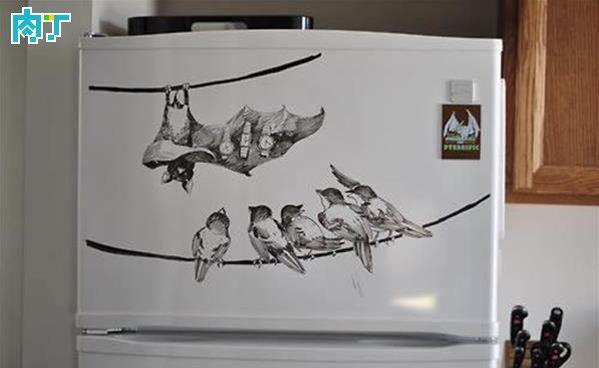 这不是白板啦:插画师在冰箱上的即兴手绘作品╭★肉丁网