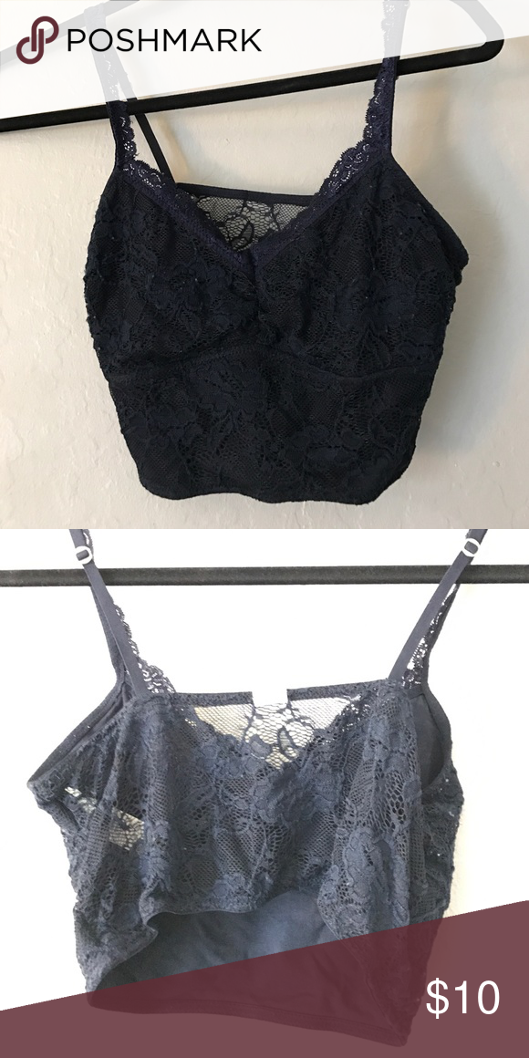 897e713a8f0e8 Hollister Gilly Hicks Bralette Hollister navy lace bralette. Adjustable  straps with lace on front