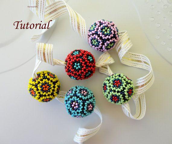 Beaded bead beading tutorial beadweaving pattern by PeyoteBeadArt