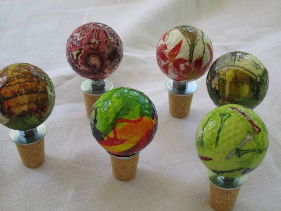 Recycled Golf Ball Wine Stoppers by FairwayFollies on Etsy