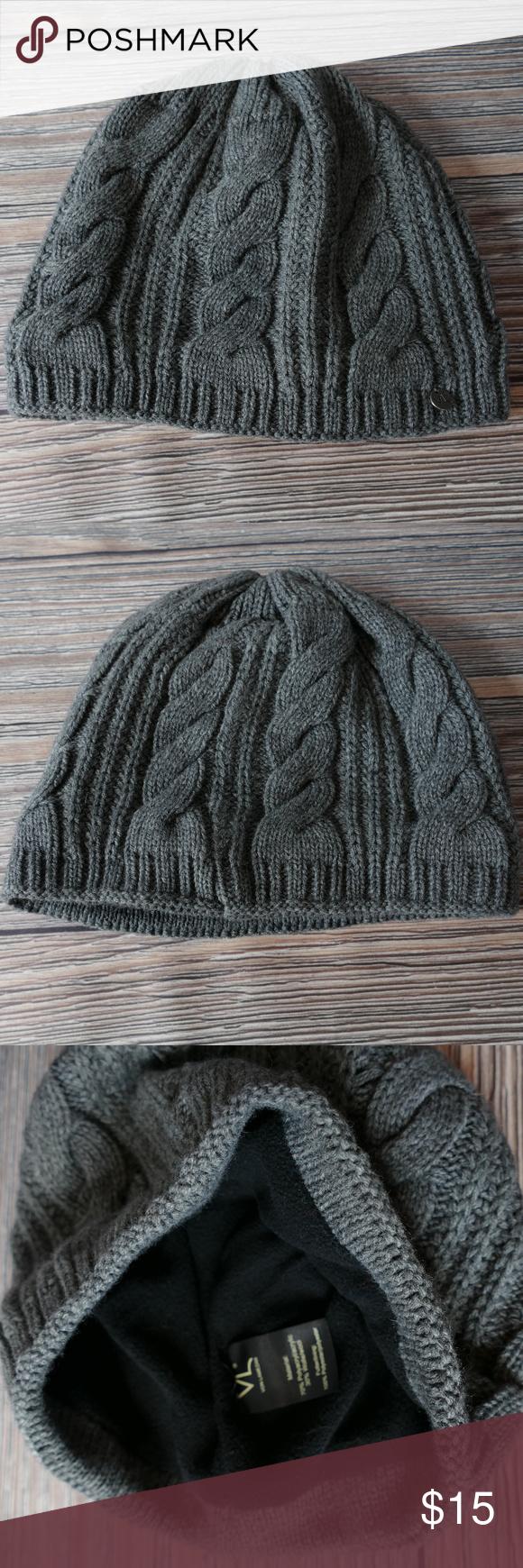 bca033a5 Von Lamezan Grey Cable Knit Wool Winter Hat Gently used Von Lamezon cable  knit wool blend