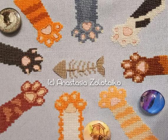 Photo of Cat paws Cute Cross Stitch pattern Modern embroidery for Cat lovers Cat Cross stitch pattern pdf