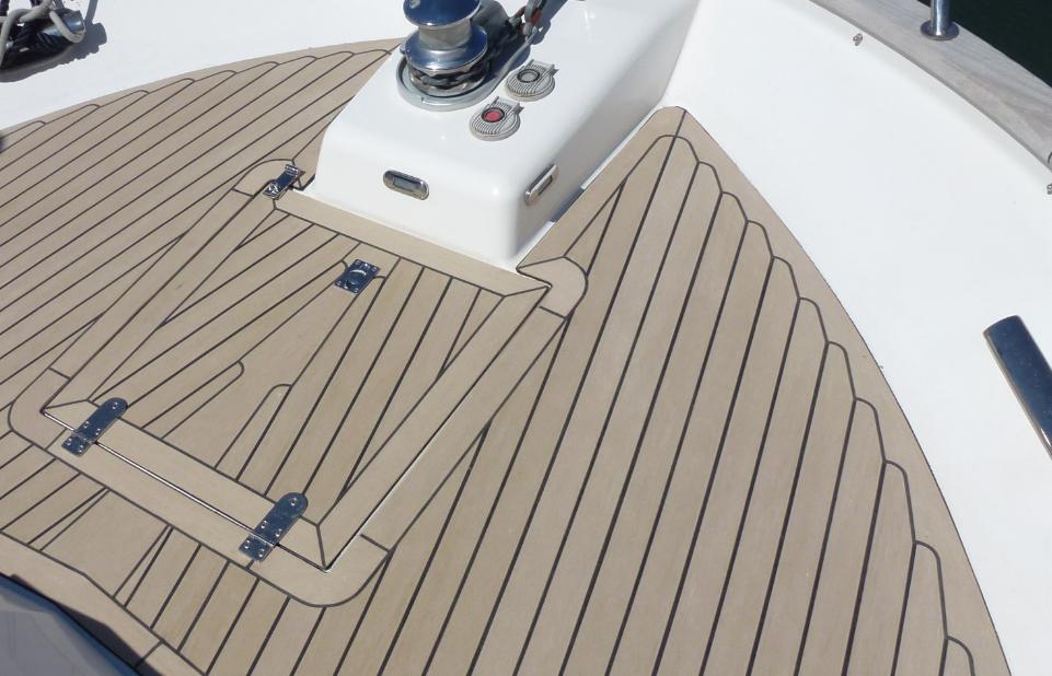 Synthetic teak replacement deck. #SyntheticTeak #Boat #Yacht #MotorYacht #Corvette320