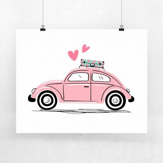 Pink Vintage Vw Beetle Art Print Vw Bug Valentines Day Art Etsy フォルクスワーゲンバグ かわいい イラスト 手書き ゆるいイラスト
