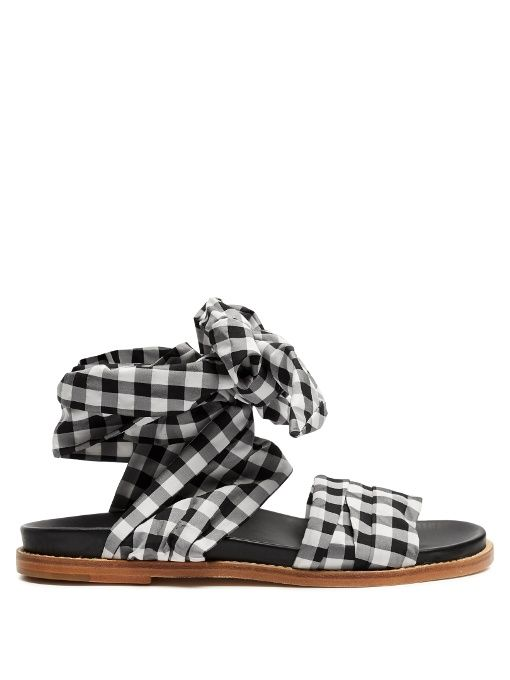 Wrap-around sandal in gingham best place to buy online sale top quality mIk5vExW