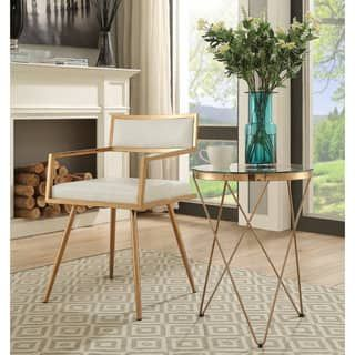Marquee Mid Century Modern White Accent Chair (Set Of 2)   Gold Dining Chair    Pinterest   Mid Century Modern, Mid Century And Dining Chairs