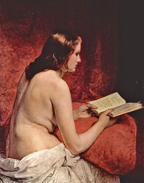 Odalisque with Book (1866).Francesco Hayez (Italian, Romanticism, 1791-1882).Oil on canvas.Villa Carlotta, Tremezzo, Italy.