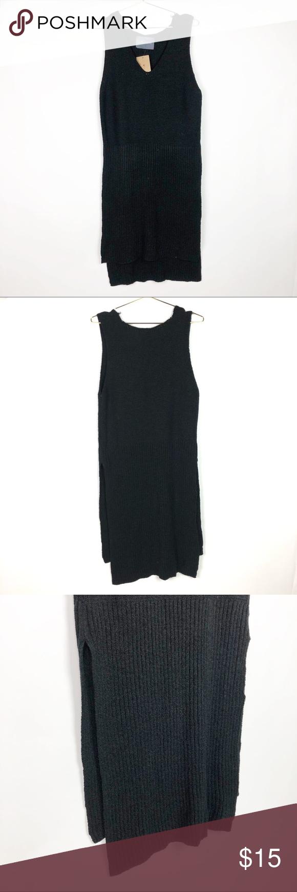 """667298cf0 Paper Crane Knit Dress  Top Black Knit dress  tank top big slit on each side  hi- lo ▫ Front Length  36"""" ▫ Back Length  41"""" ▫️Width  21"""" Paper Crane ..."""