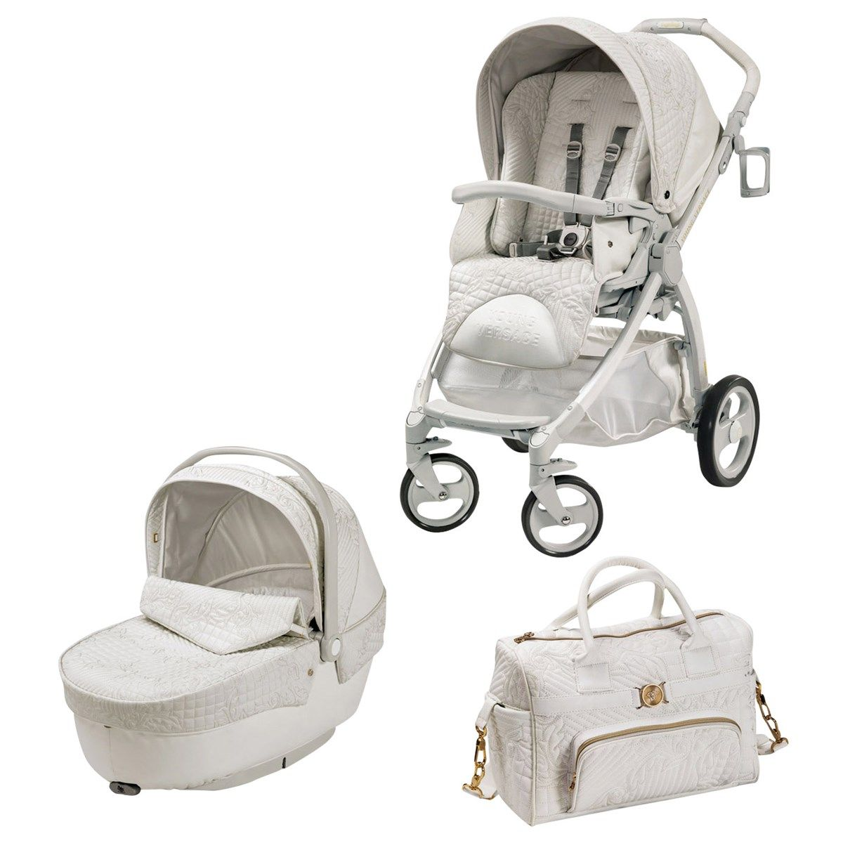 Young Versace Baby White Stroller And Travel Set The Stroller From Young Versace Is The Most Luxurious And