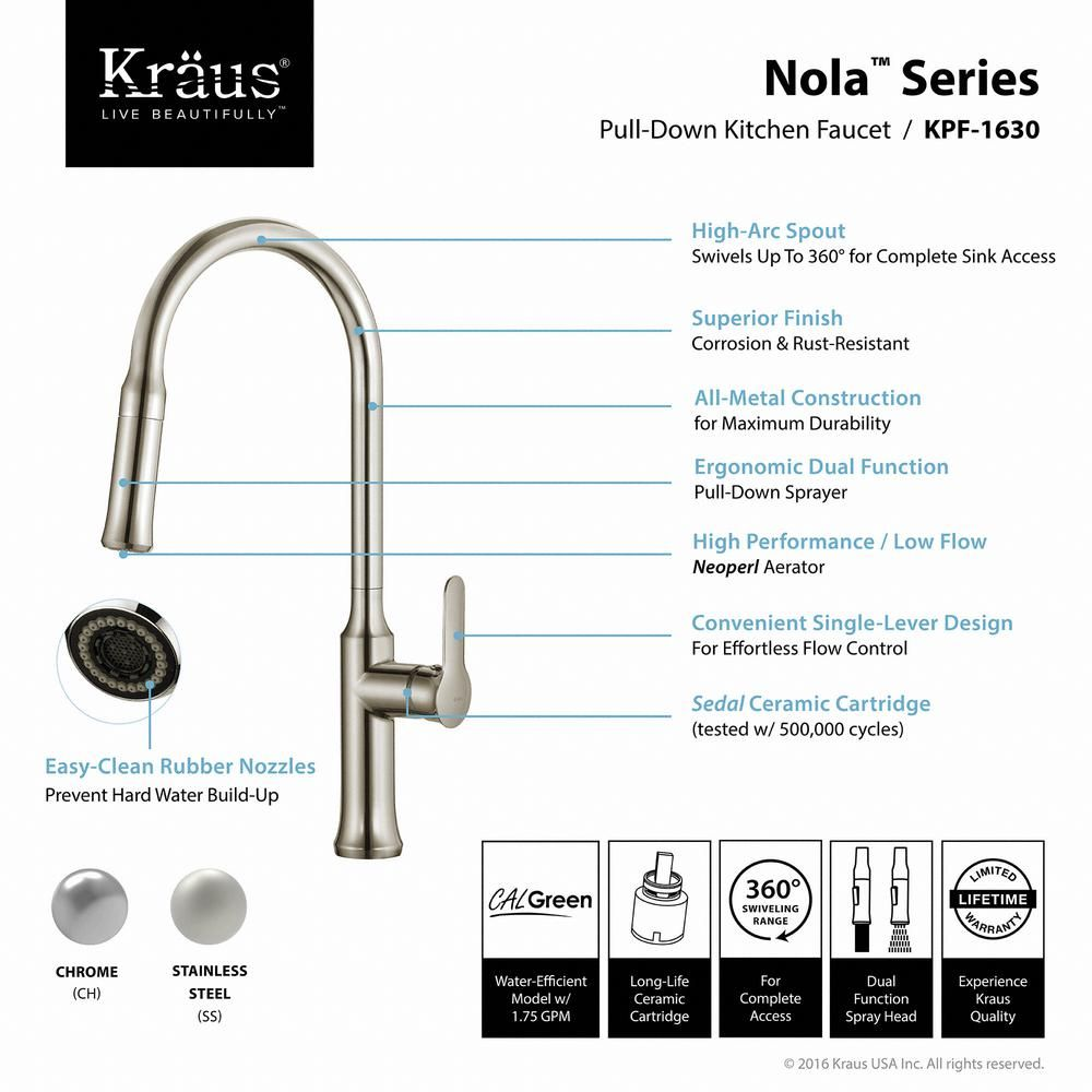 Kraus Nola Single Handle Pull Down Kitchen Faucet With Dual