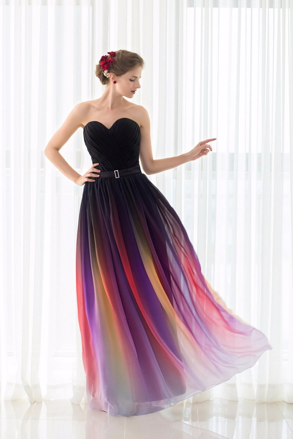 Click to buy ucuc cheap sexy real photo a line pleat gradient