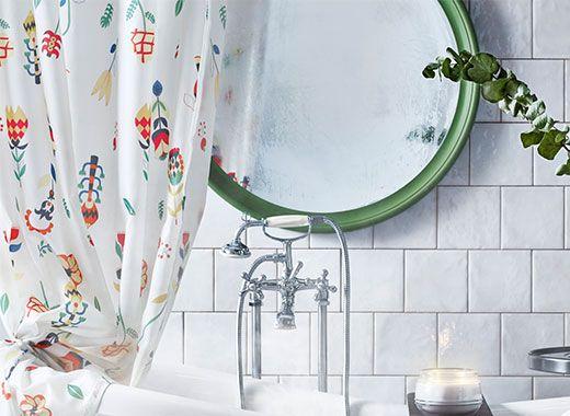 Rosenfibbla Shower Curtain Ikea Round Mirror Bathroom Shower Curtain Printed Shower Curtain