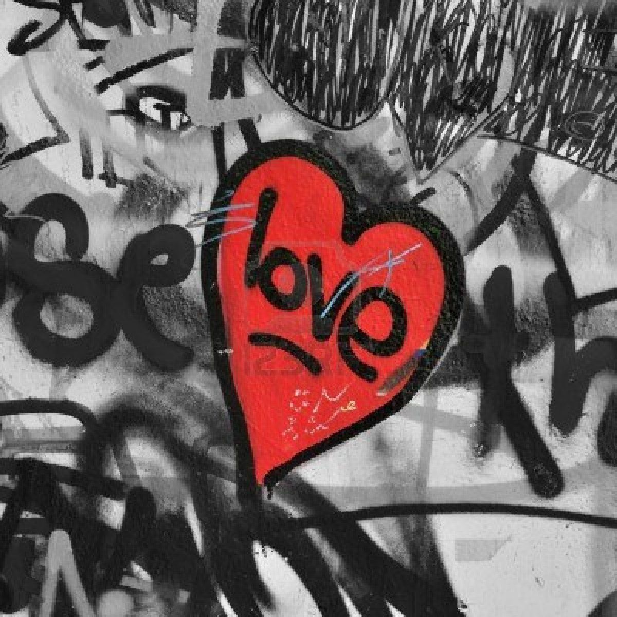 Red Painted Love Heart On Graffiti Covered Black And White Wall