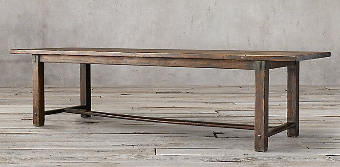 17th C. Spanish Monastery Rectangular Dining Table   Waxed Brown | Restoration  Hardware
