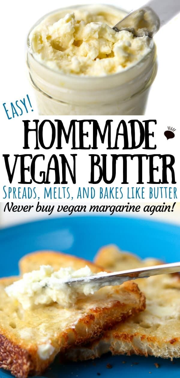 Once you try this easy homemade vegan butter, you will never want any other vegan margarine or vegan butter alternative again! I call this vegan butter because it has a true butter taste. You can make up a batch in minutes and it saves you a ton of money on store-bought brands of margarine that contain palm oil and just don't taste as good. #oliveoils