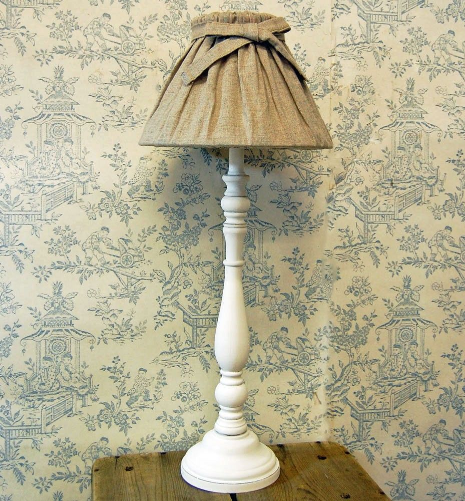French Shabby Chic White Table Lamp With Linen Bow Shade