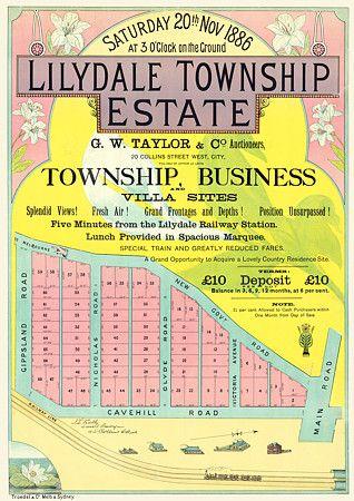 lilydale victoria australia early land sale advertisement 1886