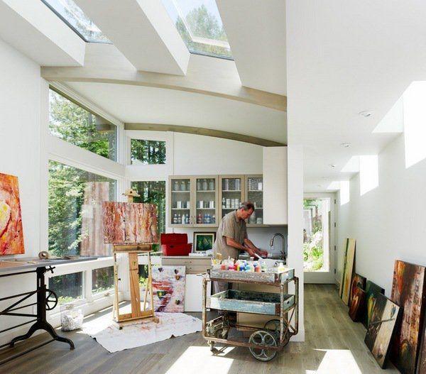 Contemporary Home Office Art Studio Combo Wood Flooring Large Windows  Skylights Wall Shelves