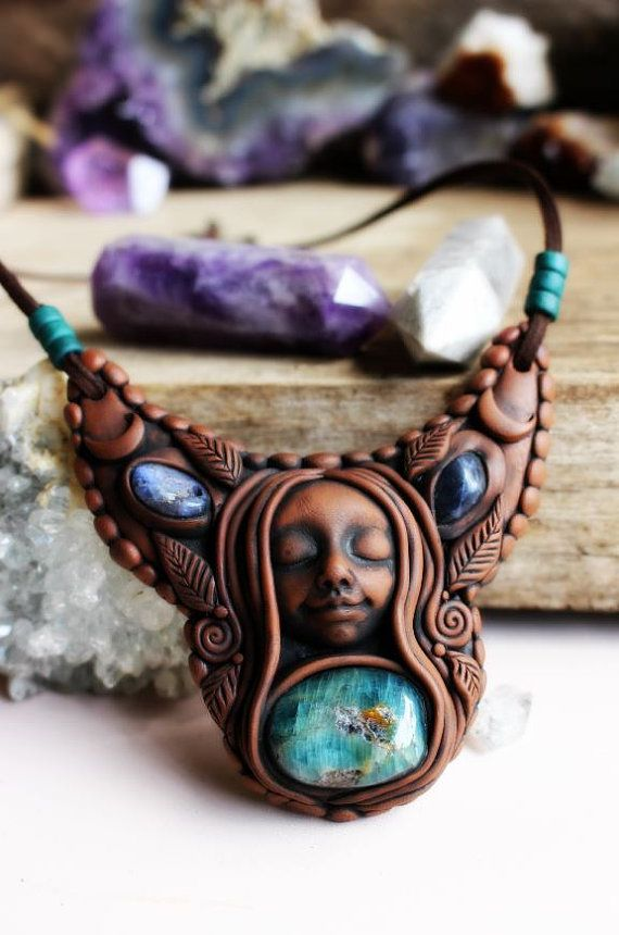 Crescent Moon Goddess Necklace with Apatite and Sodalite Gemstone. Handcrafted Clay by TRaewyn Jewelry.  The Moon represents our unconscious