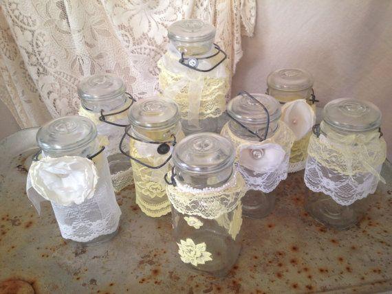 Wedding Ideas Using Mason Jars: Yellow Mason Jar, Rustic Wedding Decor, Yellow Wedding