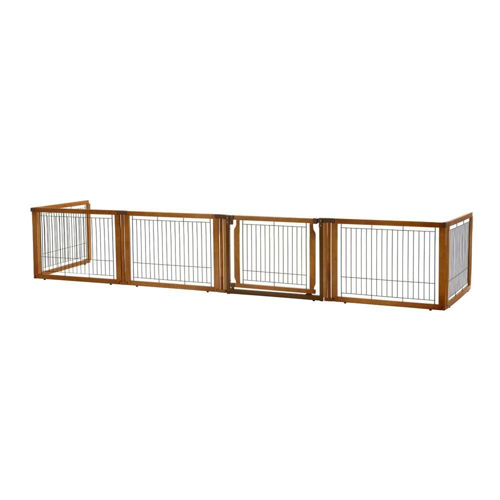 Richell Elite 20 1 In X 135 8 In Low 6 Panel Wood Convertible Pet Gate In Brown 94199 The Home Depot Pet Gate Freestanding Pet Gate Dog Gate