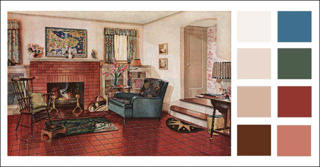 Traditional Living Room 1920s Earth Tone Color Scheme