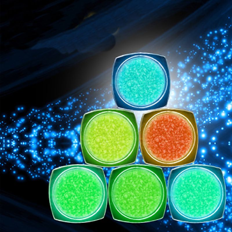 6 Colors Neon Phosphor Powder Nail Glitter Powder Dust Luminous ...
