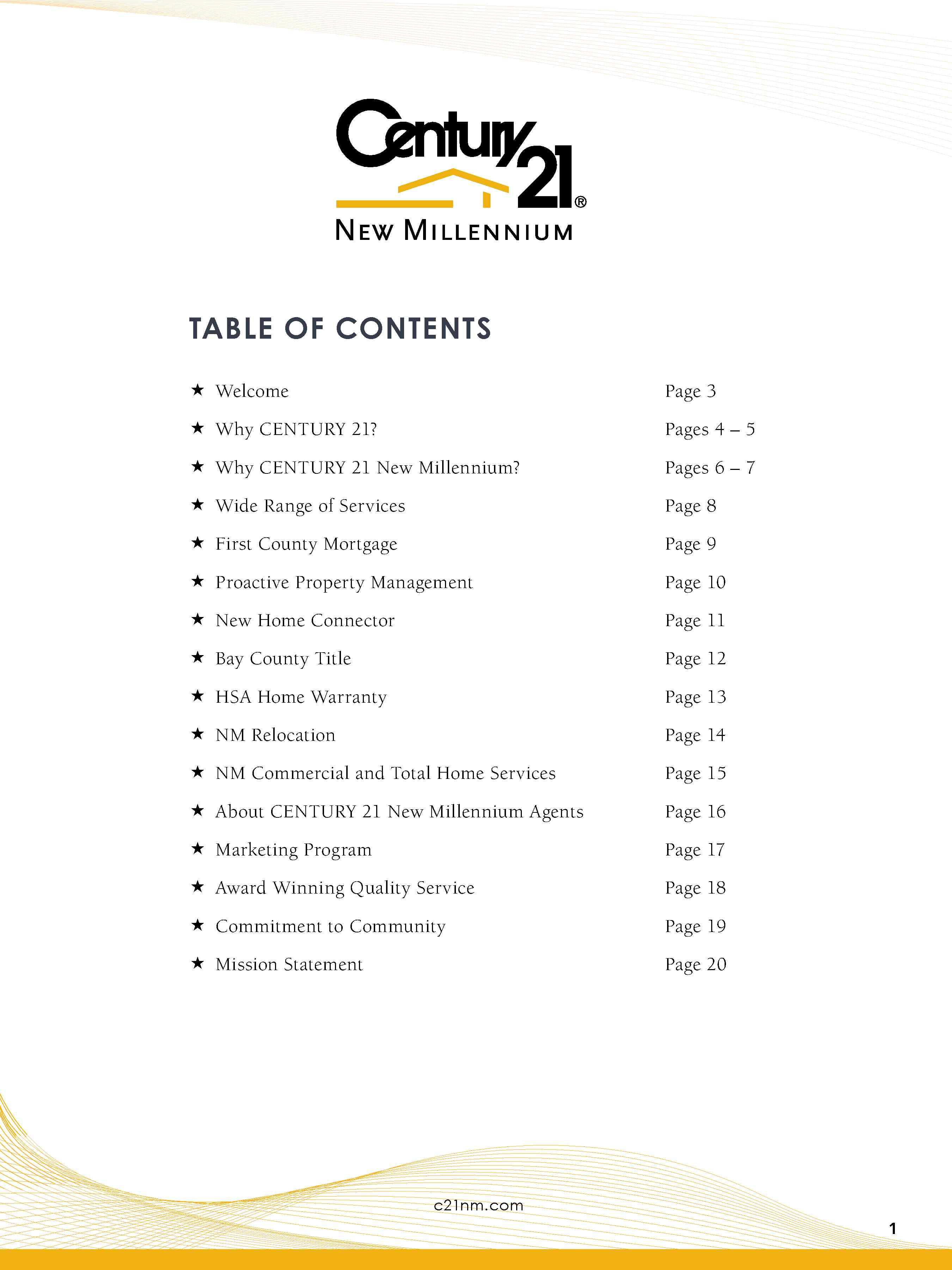 Listing Presentation Table of Contents