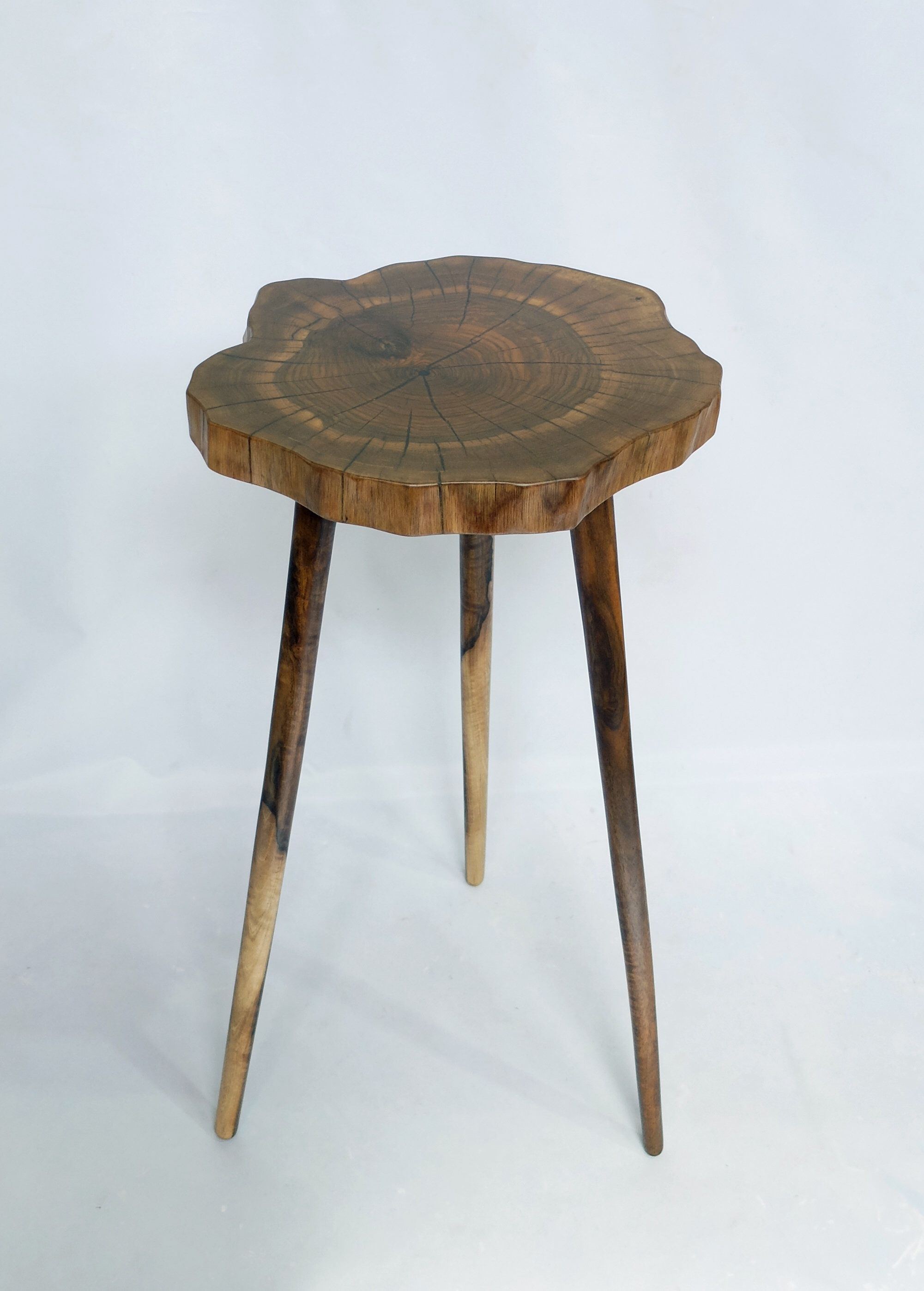 Live edge side table plant stand tapered legs solidwood walnut