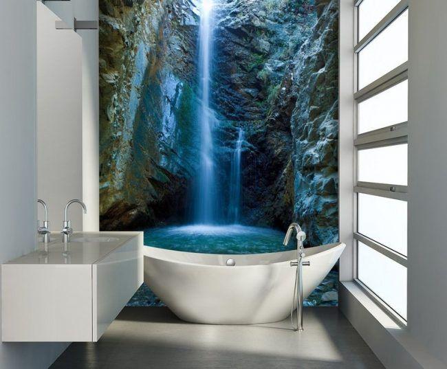Badezimmer-Ideen-kleine-Baeder-Wasserfall-Fototapete-Badewanne - fototapete für badezimmer