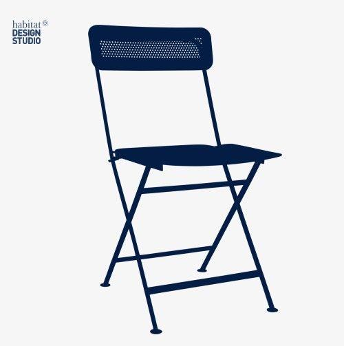 Helios Chaise pliante en métal bleue Habitat pas cher prix Habitat