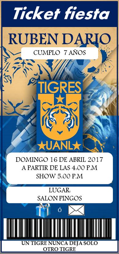 Ticket Fiesta Tigres Uanl Invitacion Pinterest