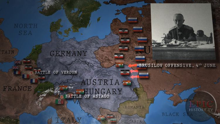 The Brusilov Offensive, named after its commander Russian ... on battle of the frontiers map, battle of lorraine map, treaty of versailles map, battle of caporetto map, battle of passchendaele map, russian empire map, battle of belleau wood map, battle of vimy ridge map, battle of gallipoli map, battle of neuve chapelle map, franco-prussian war map, finnish civil war map, russian civil war map, eastern front map, gallipoli campaign map, battle of the somme map, second battle of the marne map, arab revolt map, battle of cer map,