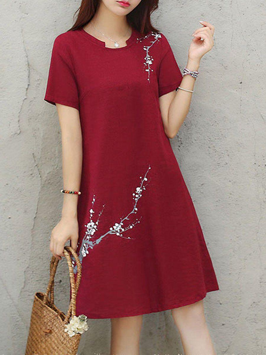 Stand Collar Dress A-line Daily Short Sleeve Cotton Floral-print Dress