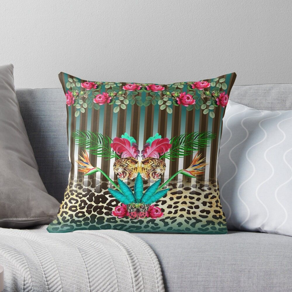 Leopard Print With Stripes Throw Pillow By Janine Antulov In 2020 Throw Pillows Cushion Cover Designs Designer Throw Pillows
