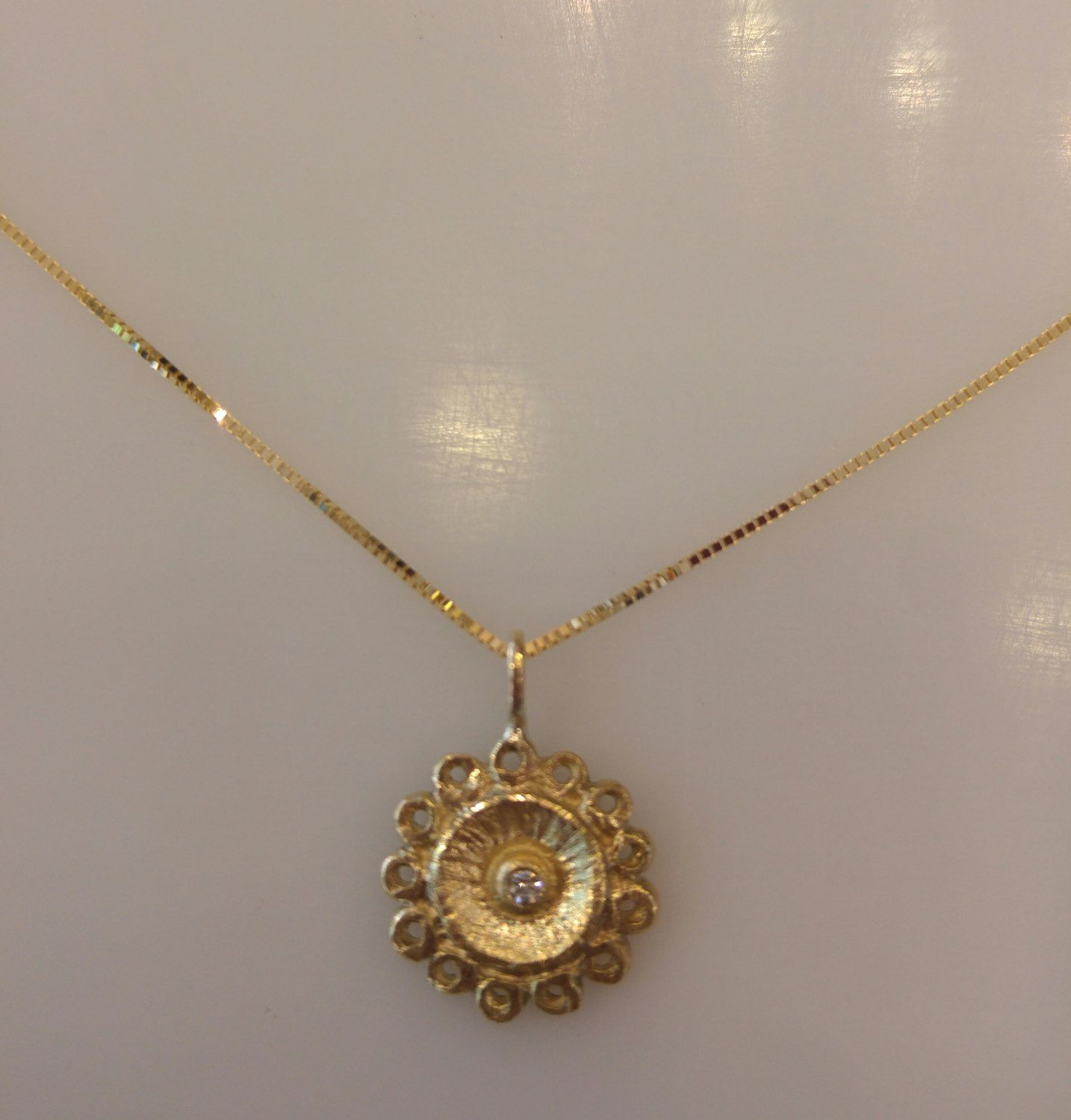 Solid gold necklace,gold pendant,diamond gold necklace,wedding ...