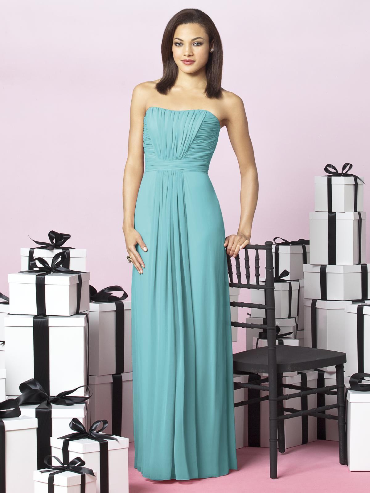 Chiffon, strapless full length bridesmaid dress
