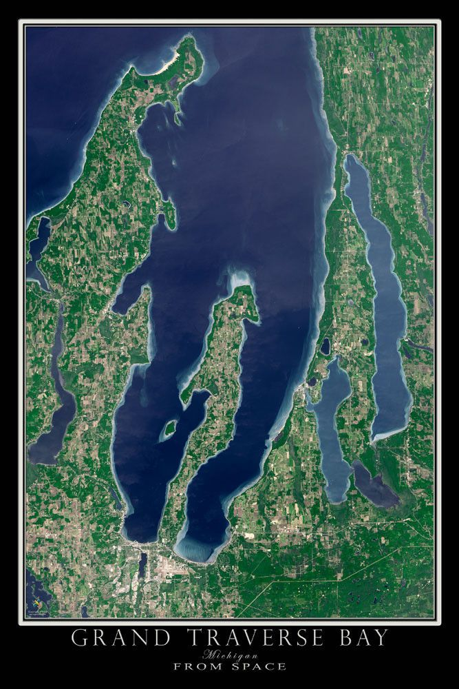 Grand Traverse Bay Michigan Satellite Poster Map City Buckets - Satellite world map poster