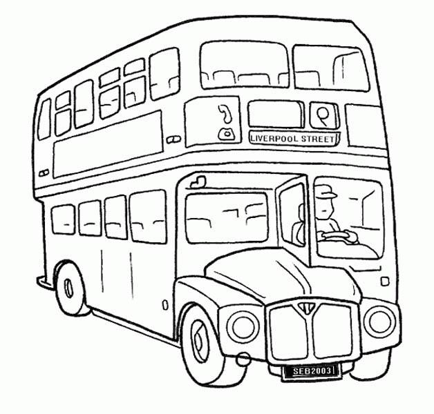 A Double Decker School Bus Coloring Page Kids Play Color Coloring Pages School Bus Drawing Bus Drawing