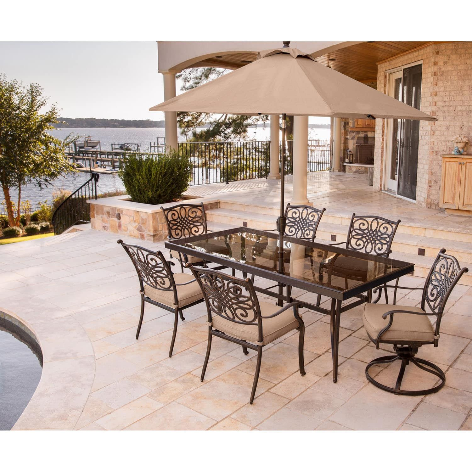 hanover traditions 7 piece dining set in tan with extra large glass
