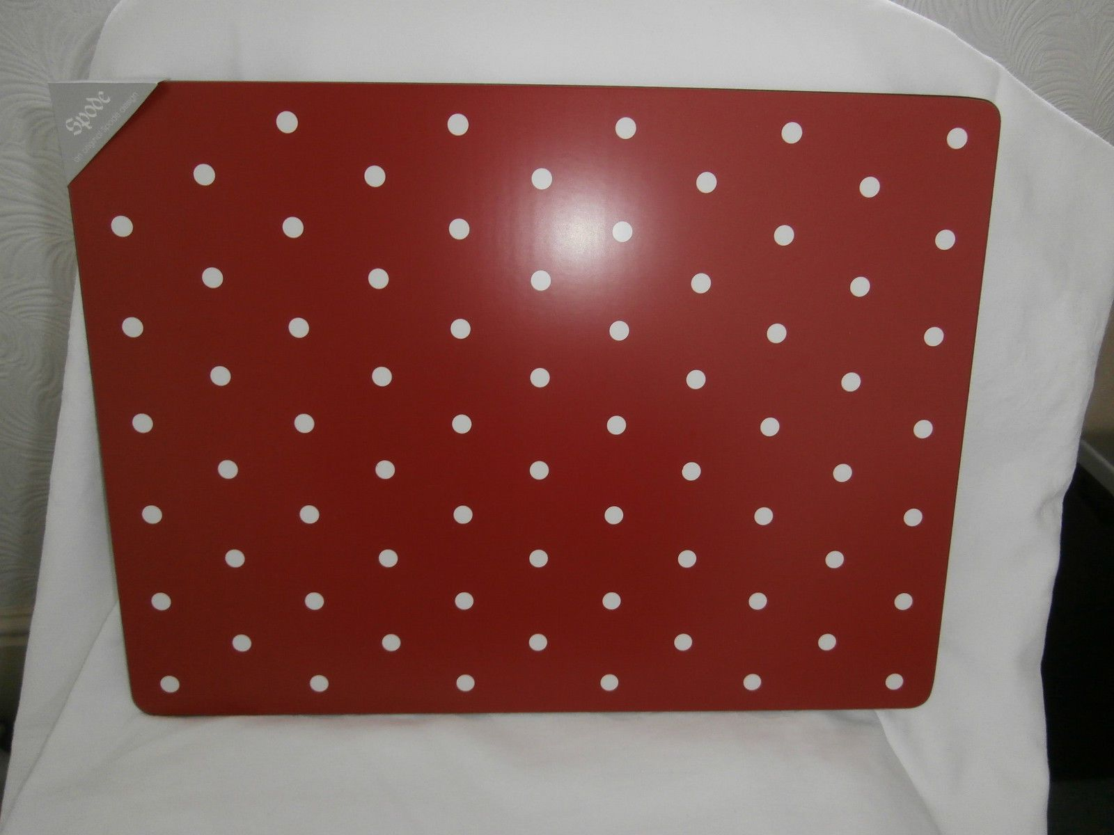 Spode baking days extra large single place mat red with white spots ...