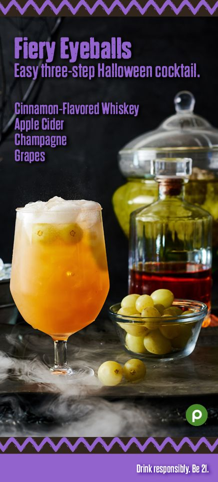 Cinnamon-flavored whiskey gives this drink its fiery flavor, and the - halloween cocktail ideas