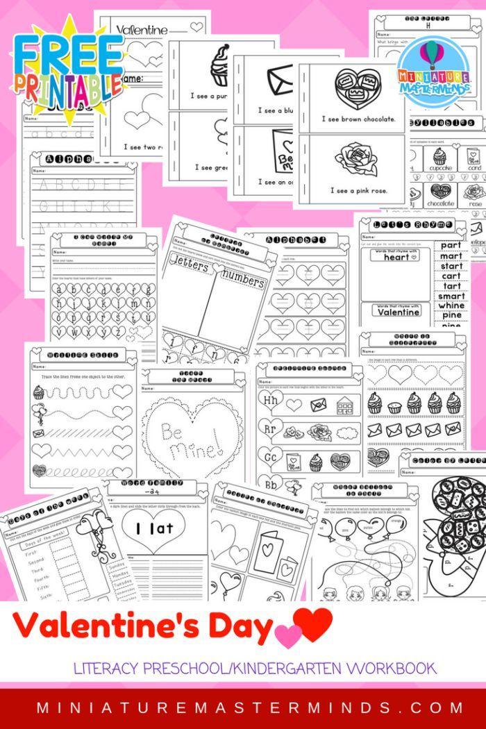21 Page Non Prep Valentine Preschool Kindergarten Literacy Workbook ...