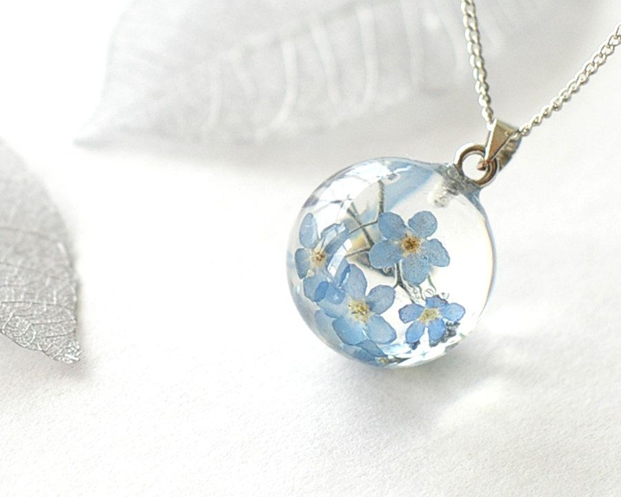 Real Forget-me-not Flowers Necklace blue Forget me by UralNature