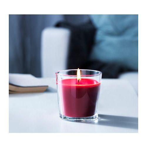 СИНЛИГ Ароматическая свеча в стакане  - IKEA. Сладкие ягоды, красный. 49 руб