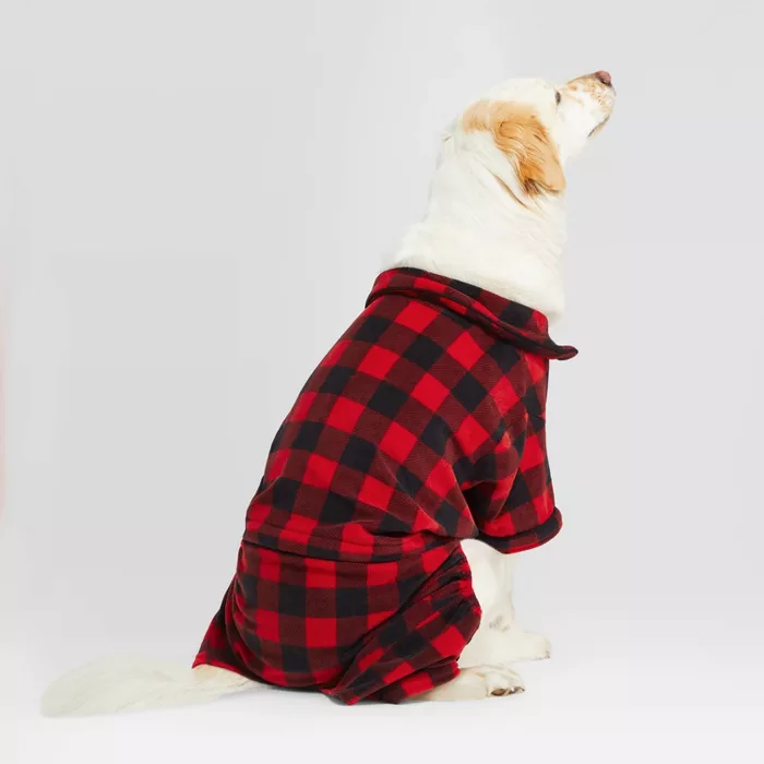 Holiday Buffalo Check Cat & Dog Pajamas Red