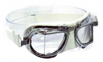Mark 49 Compact Goggle - in white leather with chrome frames.Compact goggles suitable for all open-faced helmet types (For very small to very large sizes). These all are hand made and hand polished chrome plating (No rusting!) over solid brass frames for that unique stylish look with white leather facemask hand stitched over soft foam for added comfort.